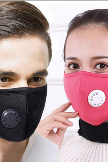 (5pcs/pack)Mask with breathing valve filter piece black dust-proof, breathable, washable, anti haze masks for men and women in spring, summer, autumn and winter