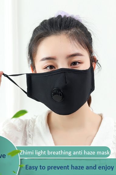 (5pcs/pack) PM2.5 cotton mask with breathing valve activated carbon anti haze and dust filter piece water washed pure cotton mask