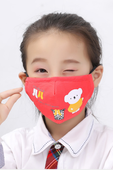 (5pcs/pack) Spot children cartoon printed cotton folding masks to send 2 pieces of fused haze PM2.5 filter.